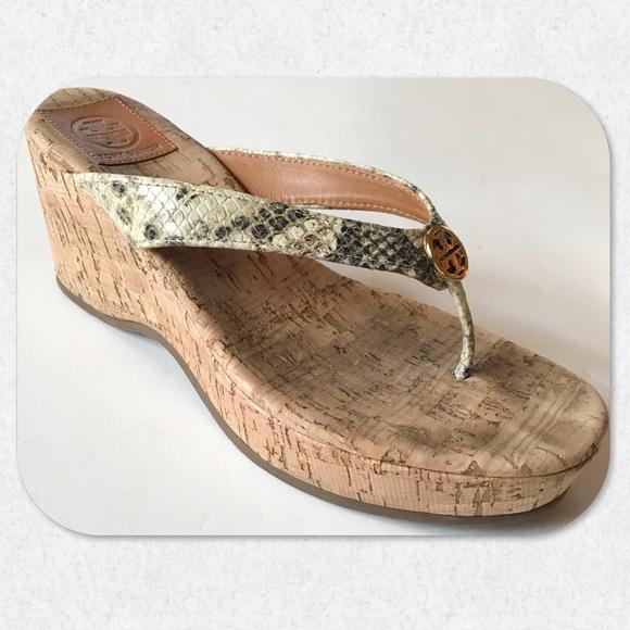 """7ea59131d6cbd Tory Burch """"Suzy"""" Cork Thong Wedge Sandals. M 5a99e7f6d39ca21998d6bd53"""
